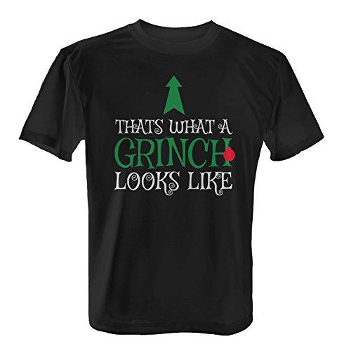 Fashionalarm Herren T-Shirt - Thats What A Grinch Looks Like | Fun Shirt als Geschenk Idee Weihnachten Heiligabend Nikolaus, Farbe:schwarz;Größe:L