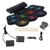 Drum Pad Electronic Drum Pad Set 100‑240V MD862M Bluetooth MIDI Foldable Drum Kit with Battery Speaker(US Plug)