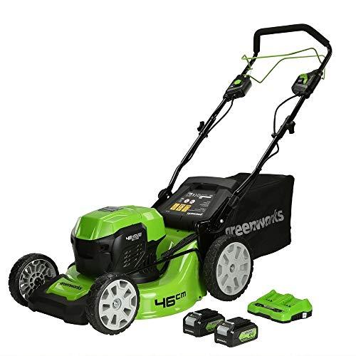 Greenworks Tondeuse à batterie GD24X2LM46SPK4X (Li-Ion 2x24V jusqu'à 480m² 55L bac de ramassage d'herbe réglage centralisé 7 hauteurs de coupe incluant 2x 4Ah batterie et chargeur)