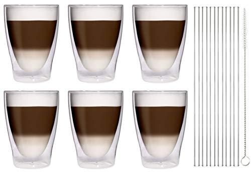 Filosa 6X 370ml XL doppelwandige Latte Macchiato-Gläser + 6X Glas-Trinkhalme + 1x Bürste - edle Thermogläser mit Stohhalme und Bürste von Feelino