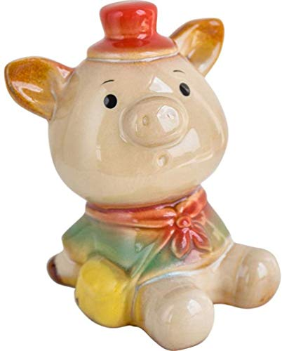 OYQQ Sculptures Ornaments Figurine,Creative Ceramic Pig Home Children'S Room 7 * 8 * 12Cm Wearing