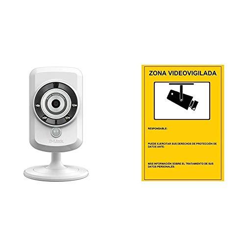 D-Link DCS-942L - Cámara WiFi y Ethernet videovigilancia (IP con Micro SD, micrófono, Salida de Audio y visión Nocturna) + Cartel Zona Videovigilada 30x21 cm.