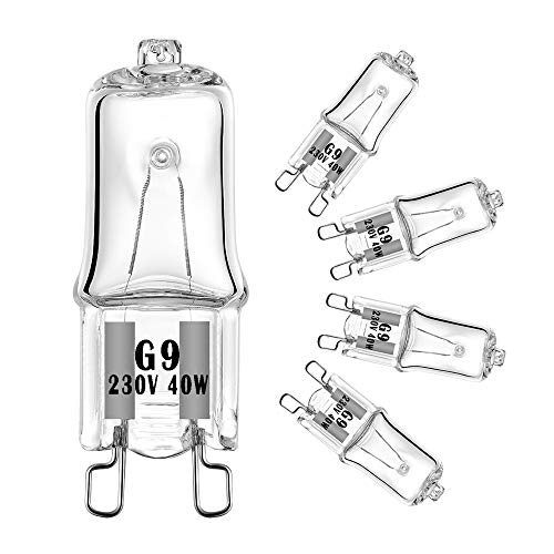 40W G9 Halogen Oven Bulbs 230V 300℃ Microwave / Oven Rated Light Bulbs ,Pack of 5