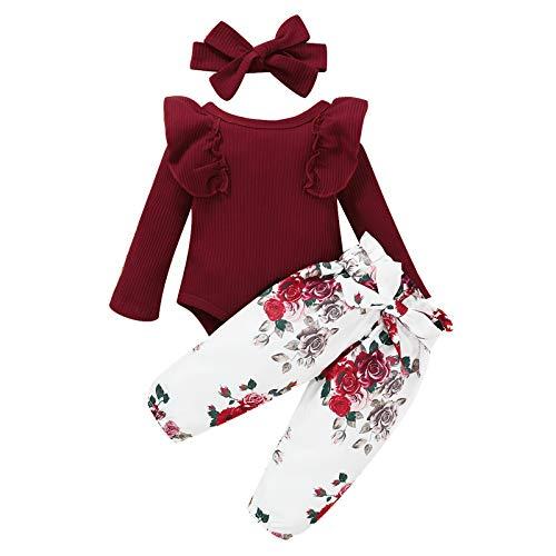 Geagodelia Baby Kleidung Mädchen Langarm Body Strampler Blumen Hose Stirnband Baby Neugeborenen Set Mädchen Outfit Babykleidung Set (B Weinrot, 0-3 Monate)