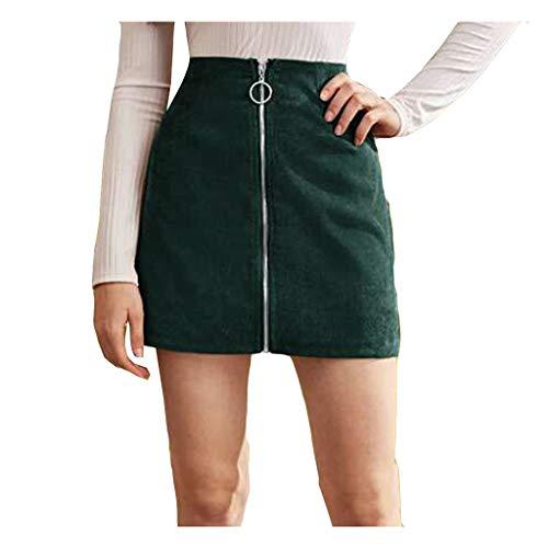 IFOUNDYOU Rock Damen Kurz Hohe Taille Schottische Vintage Tartan mit Reißverschluss Vorne Kleider Mädchen Schule Mini Elegant Sexy Eng Basic