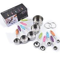 amayga acciaio inossidabile misurare tazze 10 pezzi,5 misurini di tazze e 5 misurini cucchiai cup,manici in silicone antiscivolo,per cucina cottura per misurare utensile da cucina.