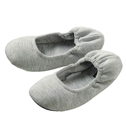 [Teddy] 携帯スリッパ レディース 折りたたみ ルームシューズ 中敷き 柔らかい 音がしにくい 滑り止め shoes052 (L:24.0-24.5(外寸:26.0cm), グレー)