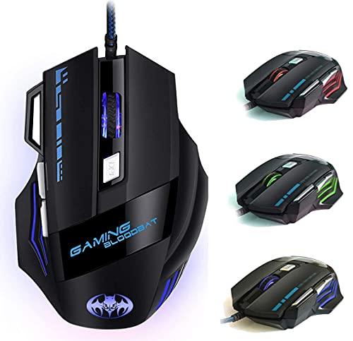 Ratón Gaming, iAmotus Ratón Gaming Óptico 7200 dpi Ajustable Gaming Mouse con Cable y 7 Botón, Ratón Ergonómico Retroiluminación RGB para Windows Vista/ Linux/Mac OS/PC/Computadora Portátil