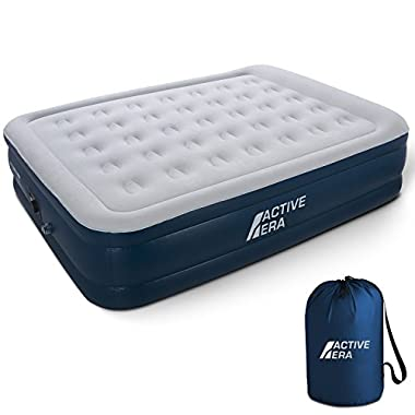 Active Era Premium Queen Size Air Mattress - Elevated Inflatable Air Bed, Electric Built-in Pump, Raised Pillow & Structured Air-Coil Technology, Height 20