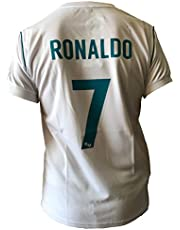 Real Madrid Maglia Calcio Cristiano Ronaldo 7 CR7 CF Bianco Azzurro Stagione 2017-2018 Replica Ufficiale con Licenza - Tutte Le Taglie Bambino e Adulto