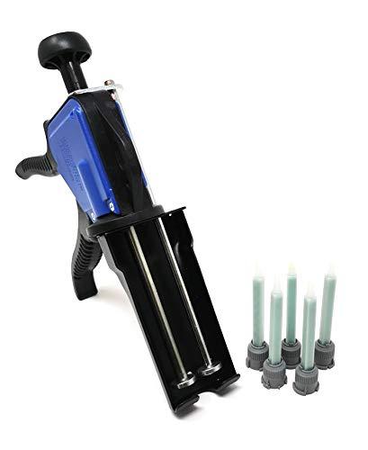 Ber-Fix® Dosierpistole Set mit 5x Mischdüse für 50ml Doppelkartuschen 1:1 für 2 Komponenten Kleber Kartuschen Kartuschenpistole besteht aus Stabilem Metall und ABS