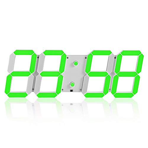 LG Snow Fashion Wall Hanging Plastic & Metal Envelope Indoor/Outdoor Indoor Multi-function 3d Digital LED Wall Clock (Color : Green)