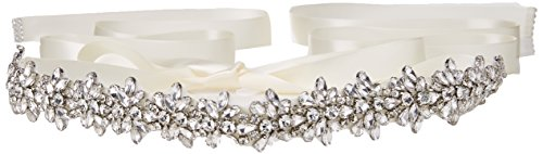 Top Queen Women's Crystal Diamond Bridal Belt Sashes, Ivory, Size One Size