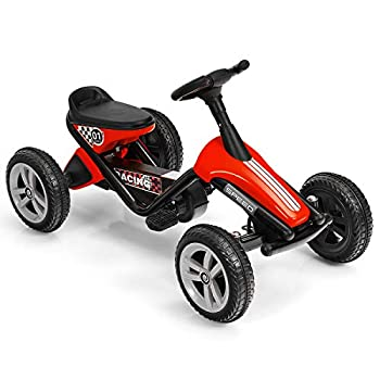 HONEY JOY Go Kart for Kids 4 Wheels Quad Pedal Go Cart with Anti-Slip Strips Steering Wheels Outdoor Racer Ride On Pedal Car for Boys Gilrs  Red