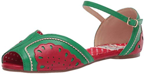 Bettie Page Women's 100-Fruitie Peep Toe Flat Red 7