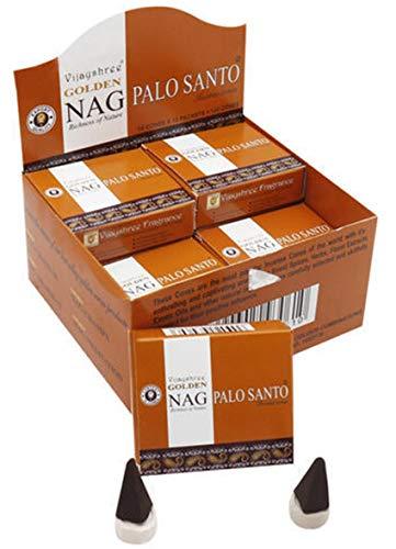 Golden Conos de Incienso Palo Santo, Caja de 12 Cajas Vijayshree Premium Masala Producto de Grado de...