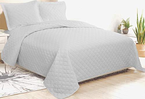 CosiCasa Tagesdecke für französisches Bett, 100 Gramm, 220 x 240 cm, Grau, leichte Steppdecke für Doppelbett