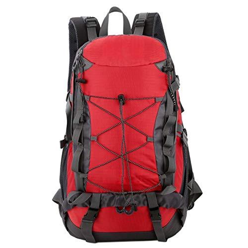 Mochila De Camping Mochila De Senderismo Resistente Al Agua 40L para Viajar Camping Senderismo Excursión Al Aire Libre (Size:Free Size; Color:Red)