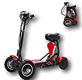 Foldable Lightweight Power Mobility Scooter Wheelchair Multi Terrain Easy Travel Electric Mobility Scooter for Adults with Child Seat (Red)