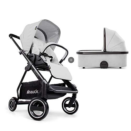 Hauck Apollo Duoset Sportwagen + Beindecke + Babywanne, drehbar, bis 25 kg, Reflektoren, höhenverstellbarer Schiebegriff, kompakt faltbar, kompatibel mit Babyschale, silber