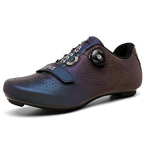 Zapatos de Ciclismo para Hombres Mujeres Carretera Ciclismo Zapatos de Equitación Giratoria Hebilla Transpirable Tacos Compatible SPD Look Delta Indoor Ciclismo Spin Zapatos, (color fantasía), 36.5 EU