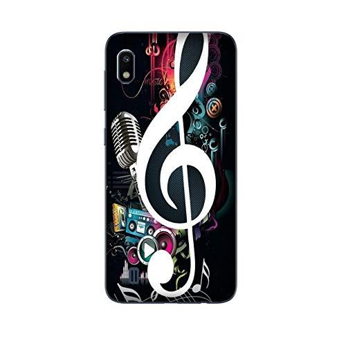 Funda Galaxy A10 Carcasa Compatible con Samsung Galaxy A10 Música Clave de Sol con micrófono Nota Musical Guitarra/TPU Suave Gel de Silicona/Teléfono Hard Snap en Antideslizante Antideslizante