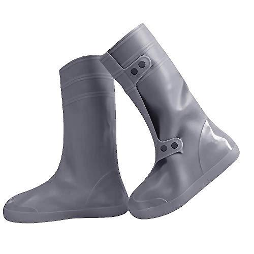 YMTECH Regenüberschuhe Wasserdicht Schuhe Überschuhe, Outdoor Rutschfester Schuhüberzieher Fahrrad Regenschutz Regenschuhe (Lang - Grau, 38-39 EU)