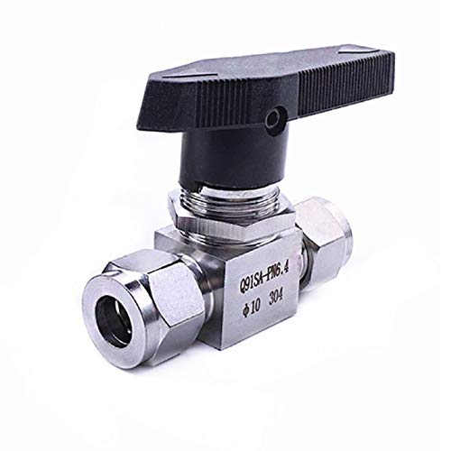 L.J.J SS 304 Hydraulic Pipe Ball Valve Female for Tube-line and Pipeline Tube OD 3MM 4MM 6MM 8MM 10MM 12MM (Color : Silver, Size : 1/8