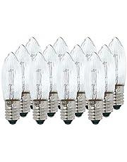 Selldorado® 12 stuks geribbelde kaarsen, helder wit, 34 V 3 W E10 fitting, puntschachtkaars, topkaars, reservelaarsen, kaarsboog piramide kaarsen, lichtketting