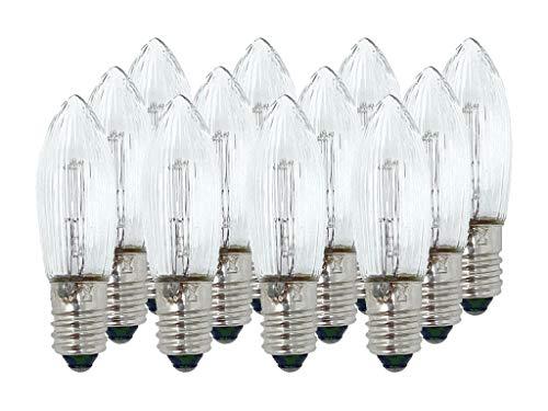 Selldorado 12 Piezas de Vela corrugada Blanca Clara 34V 3W E10 Base, Vela de Eje Puntiagudo, Vela Superior,candelabro Navidad, Bombilla e10