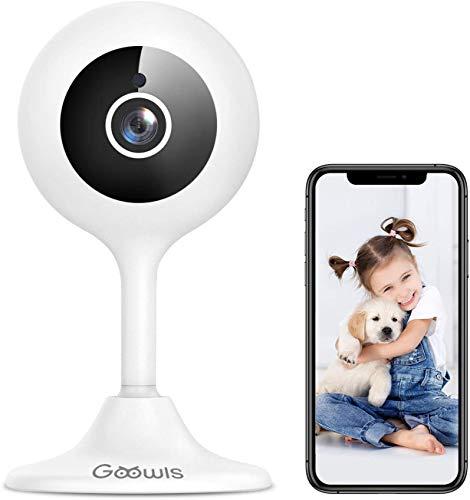 WLAN IP Kamera, Goowls 1080p HD Überwachungskameras Innen Nachtsicht Babycam Hundekamera, Geräuschmelder, AI Bewegungsmelder, Cloud/SD Card Slot max 128G, App für Smartphone Kompatibel mit Alexa