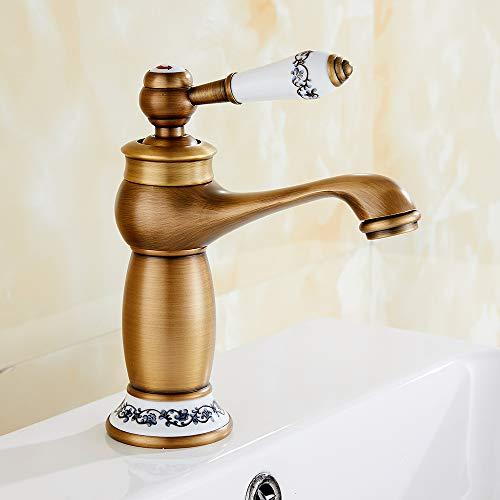 Messing Waschtischarmatur Retro Mischbatterie Bad Wasserhahn Waschbeckenarmatur Einhebelmischer Badarmatur Gold Keramik Antik Waschbecken Armatur Badezimmer