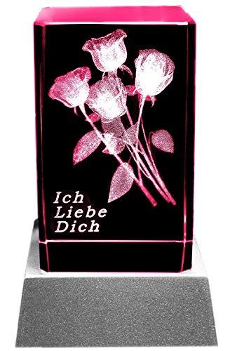 Kaltner Präsente Stimmungslicht LED Kerze/Kristall Glasblock / 3D-Laser-Gravur Rosen ICH Liebe Dich
