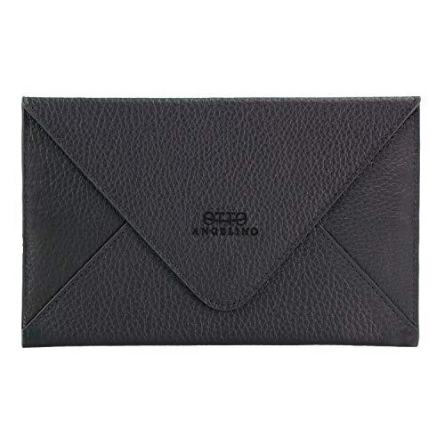 Otto Angelino Echtes Leder Kreditkartenhalter und Reisebrieftasche Hülle mit Magnetischem Verschluss - RFID Schutz (Schwarz)