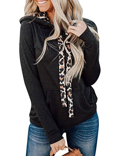 Sudadera de bolsillo con cordón para mujer, diseño de leopardo
