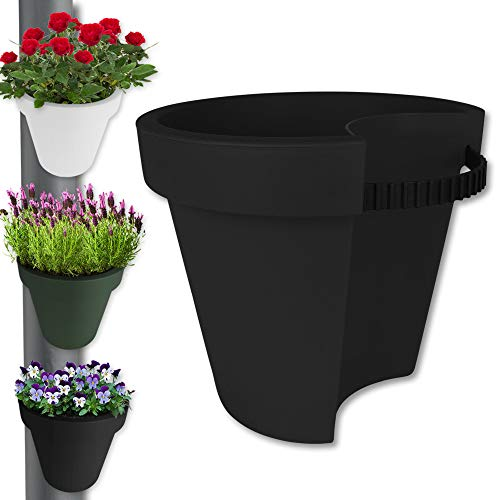 TW24 Pflanztopf - Pflanzkübel - Hängetopf - Balkontopf - Pflanzgefäß - Blumentopf Regenrohr mit Farbauswahl (Anthrazit)