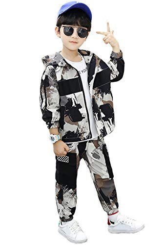 Rolanko 2 Stück Trainingsanzug Kinder Jungen Langarm Outfits Camo Jogginganzug Jacke + Cargohose Bekleidungsset(Braun,116-122)