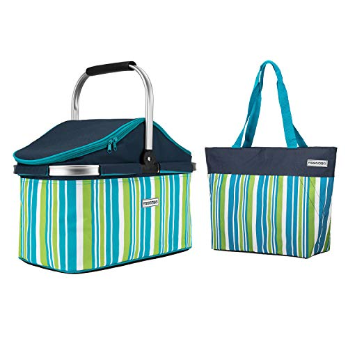 anndora Einkaufskorb 25 Liter ISO Picknick Kühlkorb - dunkelblau Limette