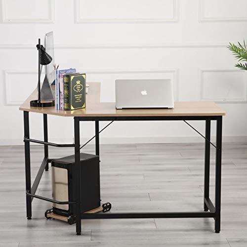 ZMRRXR Mesa esquinera en forma de L, escritorio de esquina para juegos en casa, oficina, escritura, estudio, PC, portátil, estación de trabajo, color madera