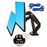 Supporto Girevole con Molla a Gas per Due Display LCD LED per PC, 17'-27', Nero