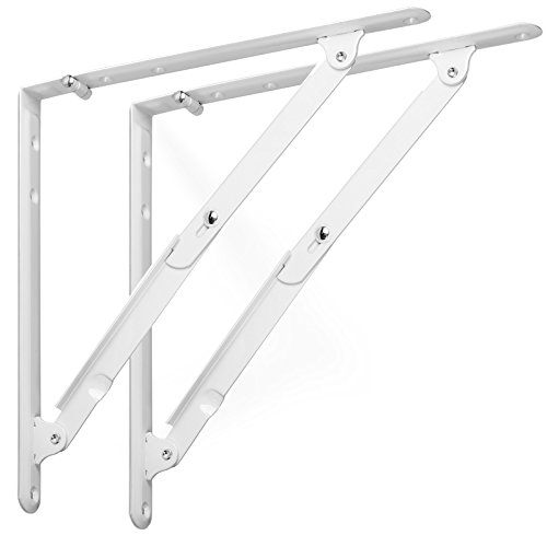 1 Paar SO-TECH® Klappkonsole Tischverlängerung / 305 x 305 x 27,5 mm/Stahl weiß/mit Arretierung/Tragkraft 70 kg/Design trifft auf Funktion