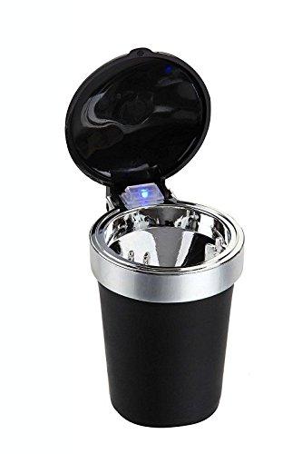 Praktische led-asbak met blauwe ledverlichting voor bekerhouders in de auto, vrachtwagen, caravan, boot, campingstoel of gewoon op tafel plaatsen. Inion®.