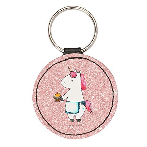 Mr. & Mrs. Panda Anhänger, Schlüsselband, Rund Schlüsselanhänger Einhorn Muffin - Farbe Glitzer Rosa