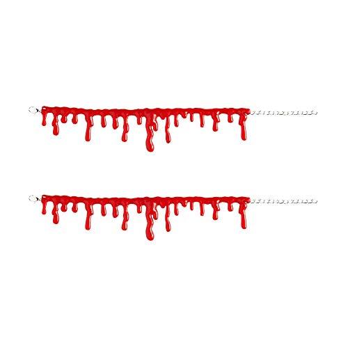 Widmann 1077D - Armband-Set mit Bluttropfen, 2 Stück, größenverstellbar durch Gliederkette, Armkette, Halloween, Krankenschwester, Accessoire
