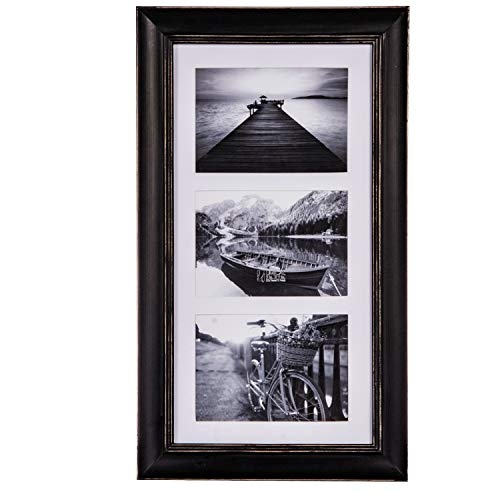 UMICAL Collage Picture Frame Distressed Vintage Style Black Wood Photo Frames Matted 3-Opening for 5x7 Pictures Display with HD Plexiglass for Vertical or Horizontal Wall Mounting