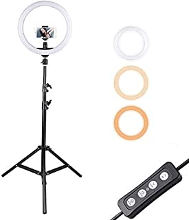 Andoer LED Ring Light with Stand 12 inch Selfie Light with Phone Holder Dimmable 3-Color Rotary Streaming Light for Vloggi...