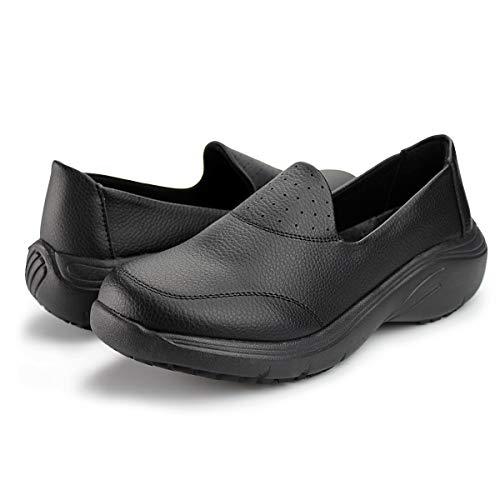 Hawkwell Women s Lightweight Nursing Shoes Comfortable Work Shoes,Black PU,5 M US