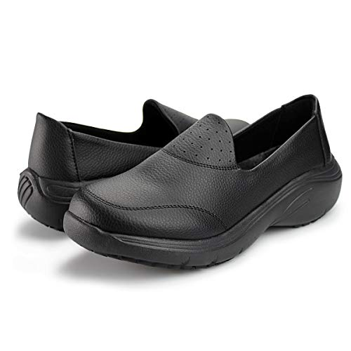Hawkwell Women's Lightweight Comfort Slip Resistant Nursing Shoes,Black PU,7 M US