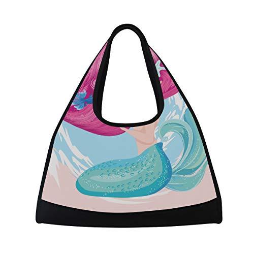 NISENASU Sporttasche,Nette Meerjungfrau Fisch Starfish Vektor Illustration,Neue Sport Reisetaschen Tennisschläger Rucksack Badminton Kurze Reisetaschen tragbare Umhängetasche (20×6.7×18.5 inch)