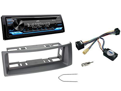 NIQ Autoradio Einbauset geeignet für Renault Megane | Scenic inkl. JVC KD-T716BT & Lenkrad Fernbedienung Adapter in Grau
